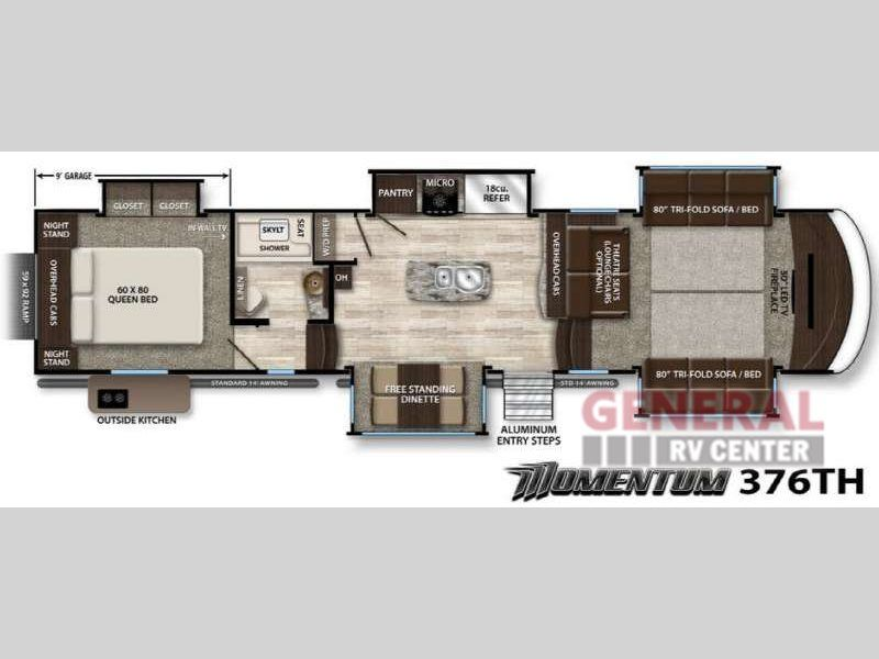 New 2017 Grand Design Momentum 376th Toy Hauler Fifth Wheel At