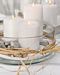 centre de table sable galets bougies - Centre De Table Bougie