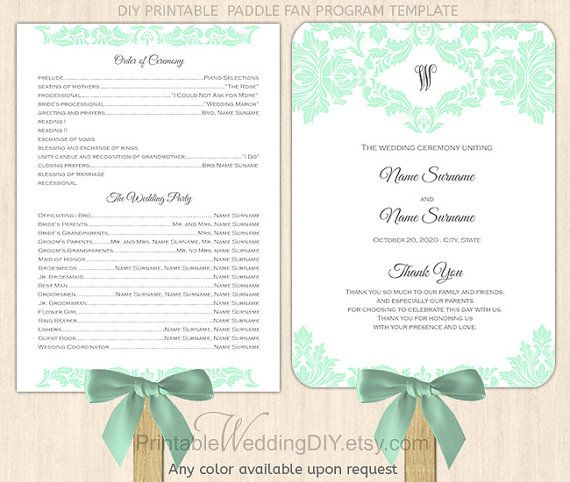 Items Similar To Purple Lilac Damask Paddle Fan Program Template