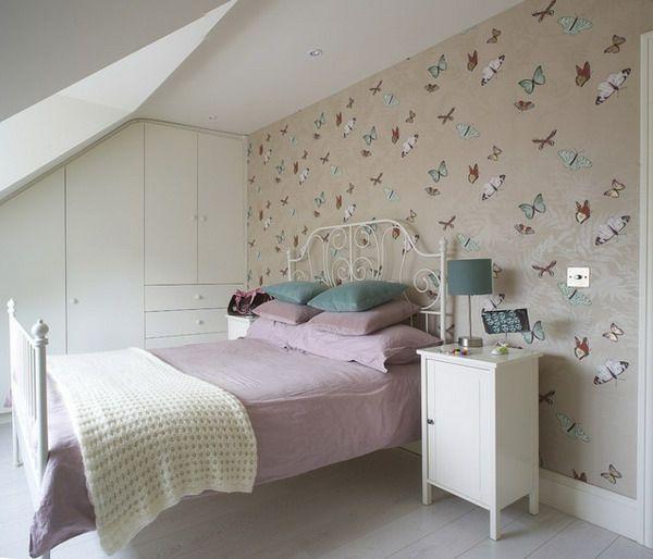 schmetterlinge bemalungen als dekoration für tapeten im schlafzimmer - tapeten wohnzimmer