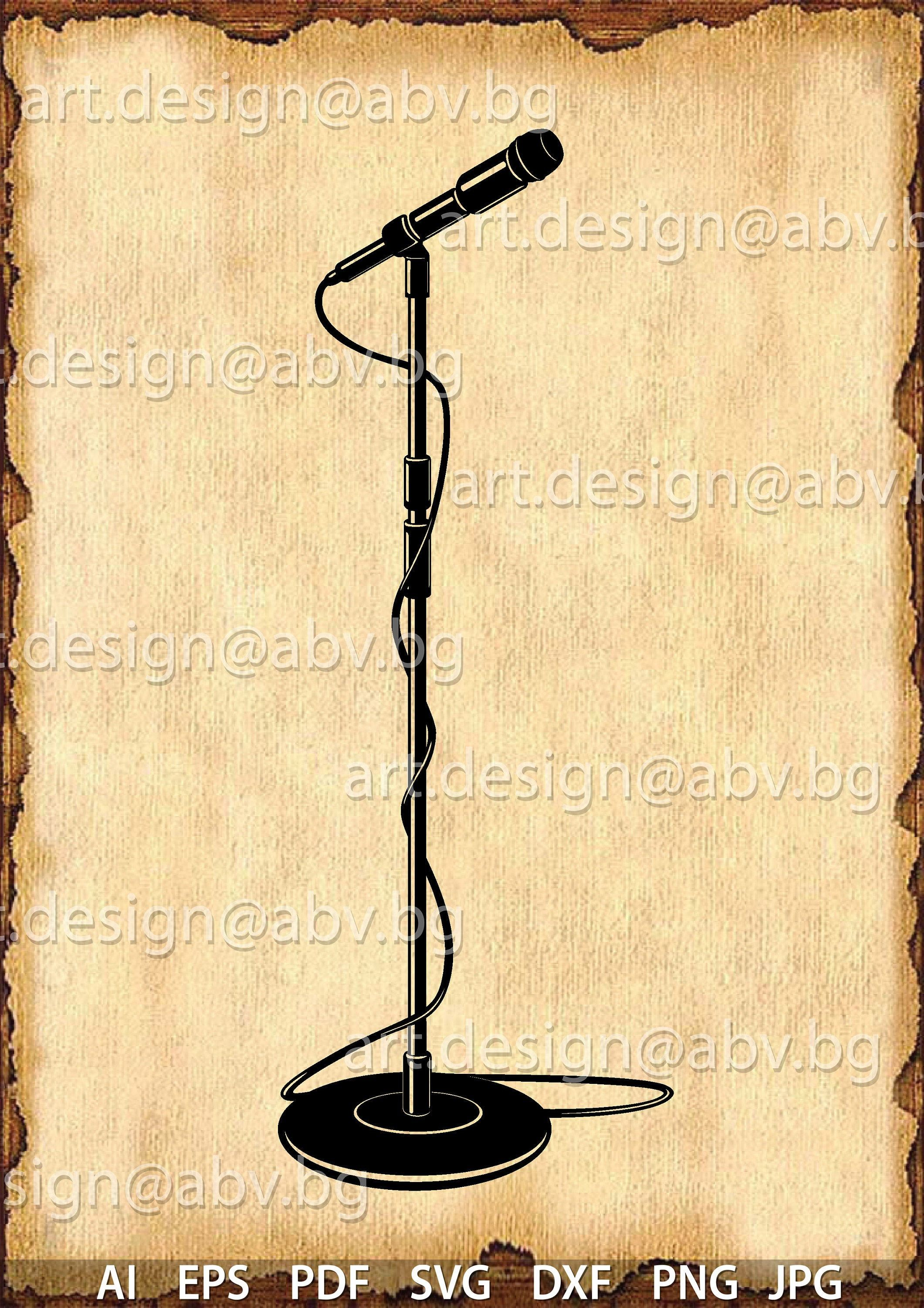 Vector Mic Stand Microphone Ai Eps Pdf Png Svg Dxf Jpg Etsy Microphone Microphone Stand Mic