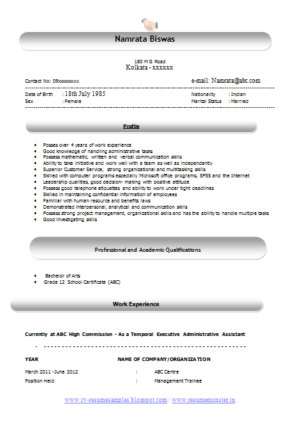 Resume Format In Word Latest Administrative Resume Format In Word Doc Free  Resume For