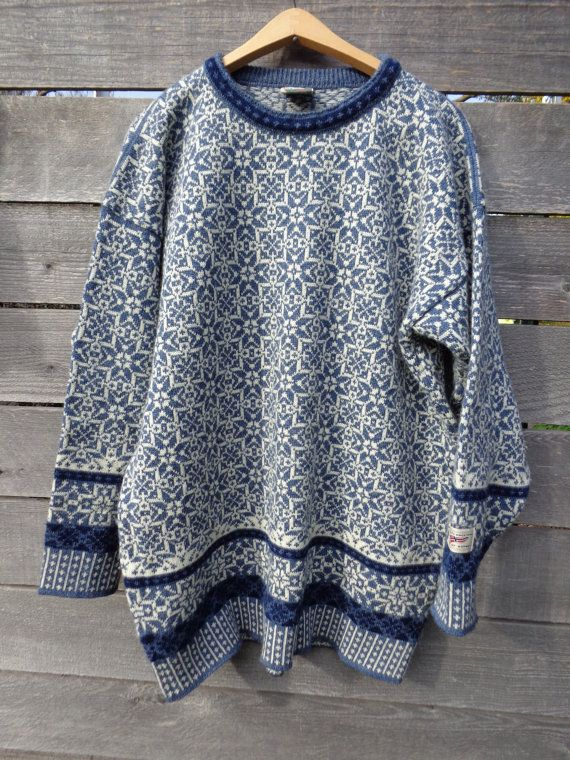 Vintage Dale of Norway early Knit wool Norwegian ski sweater adult Large