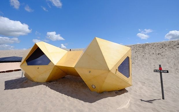 UrbanCampsite features 14 unique artworks set on the desert-like landscape of Centrumeiland, one of several artificial islands built in the new city district of IJburg in the east of Amsterdam.