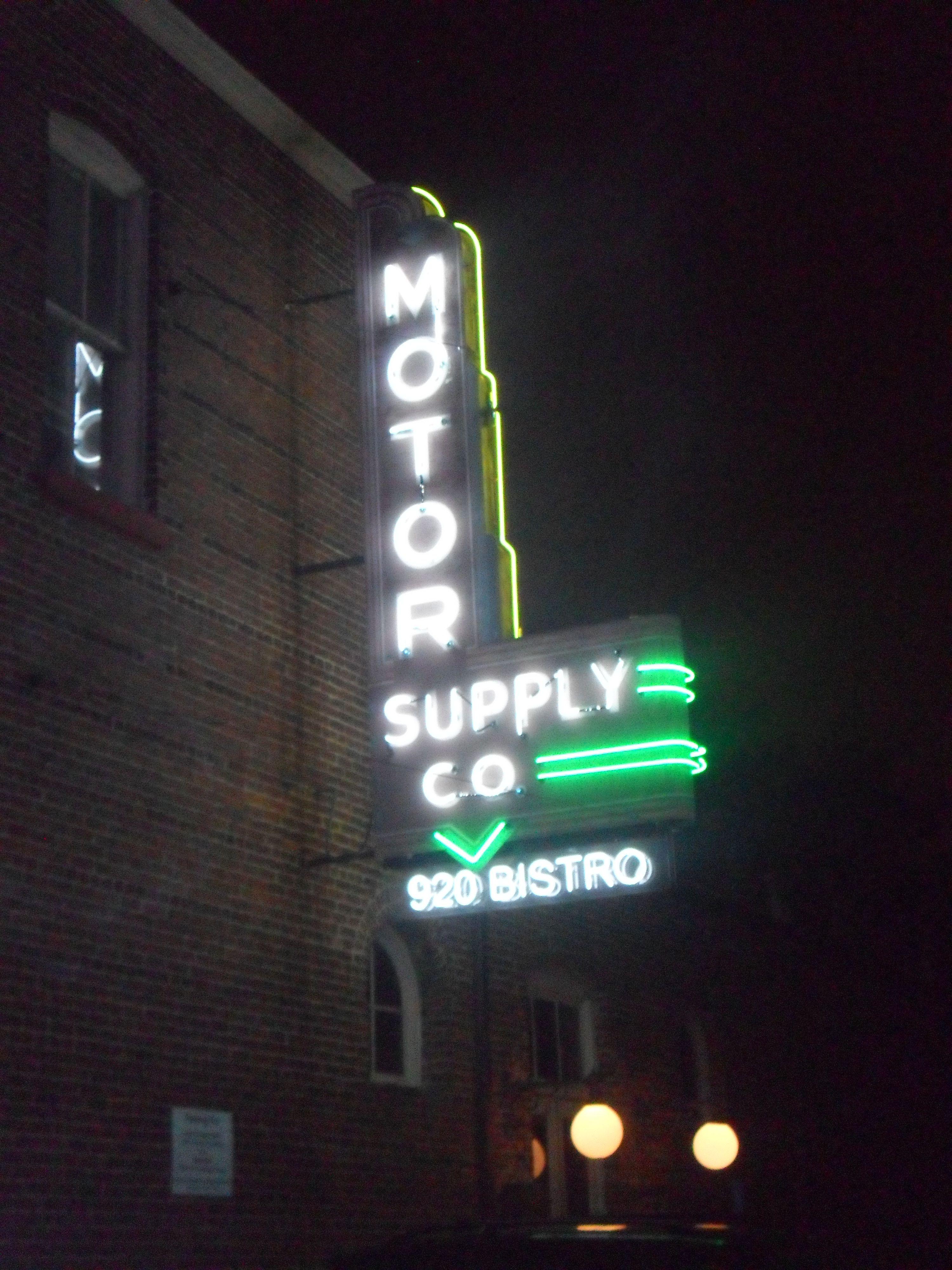 Motor City Supply Restaurant In Columbia Scs Vista Neonsign