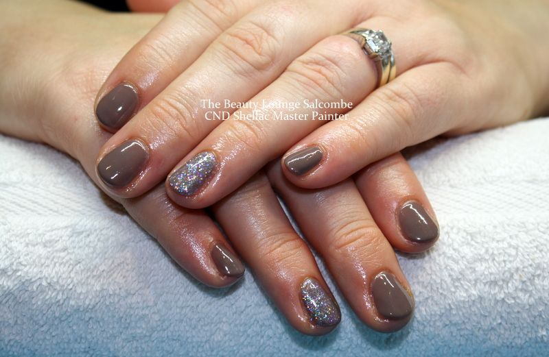 CND Shellac nails in Rubble and Fairy Dust Glitter. A lovely Mink ...