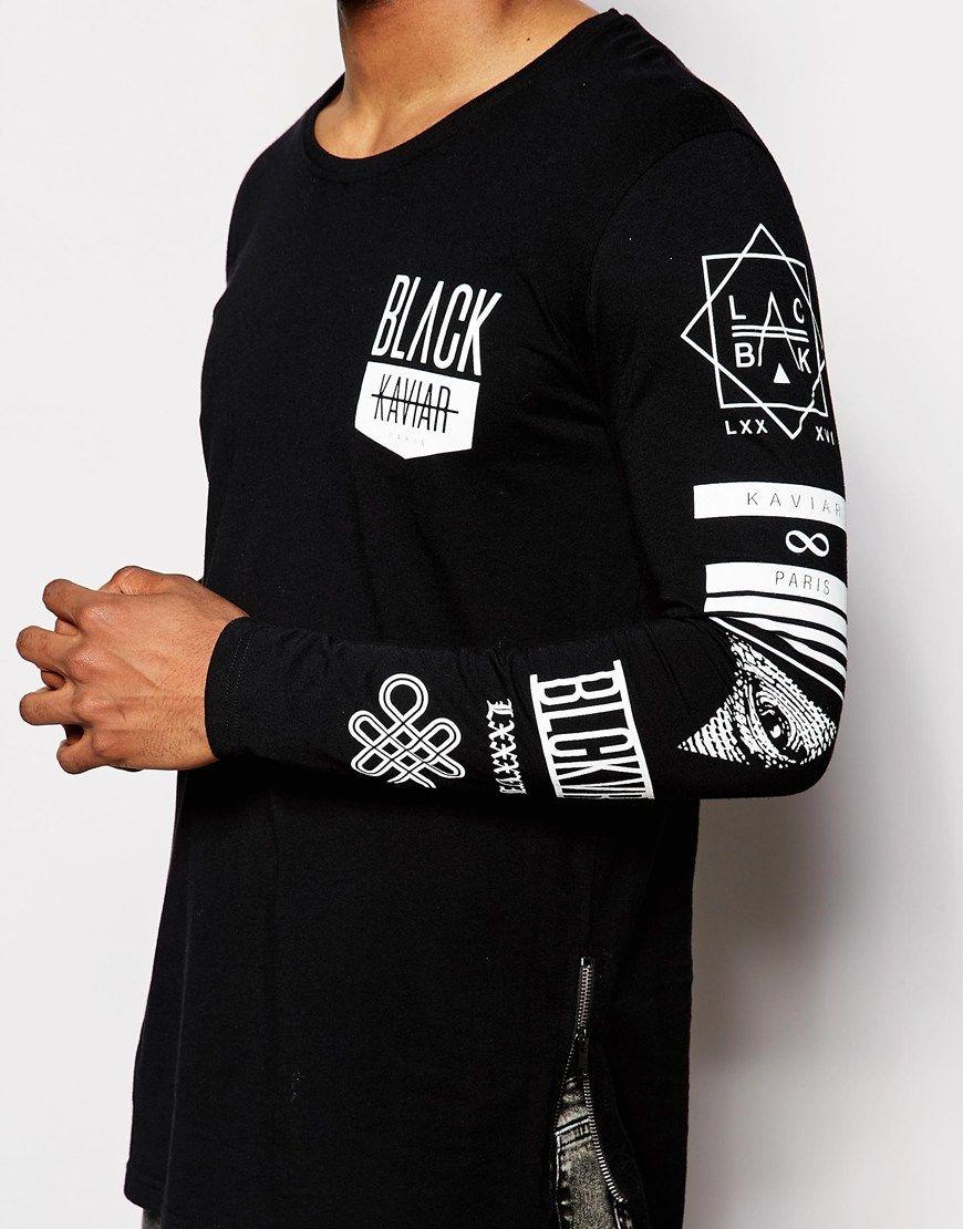 Black kaviar t shirt - Image 3 Of Black Kaviar Longline Long Sleeve T Shirt With Sleeve Print
