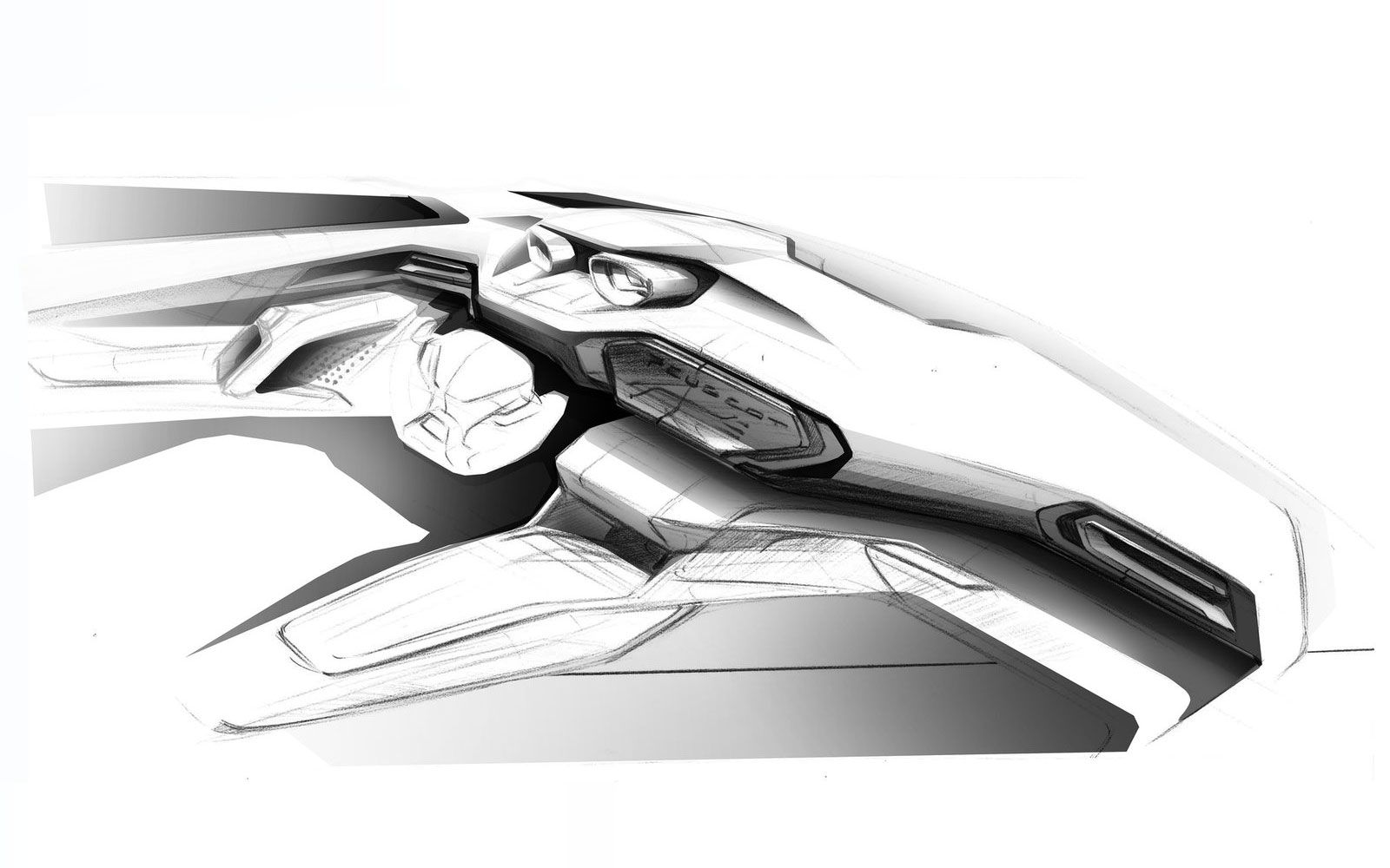 We wonder how long until new cars match the concept sketches that we all love? This is an early #peugeot308 interior concept sketch, amazing if you ask us!