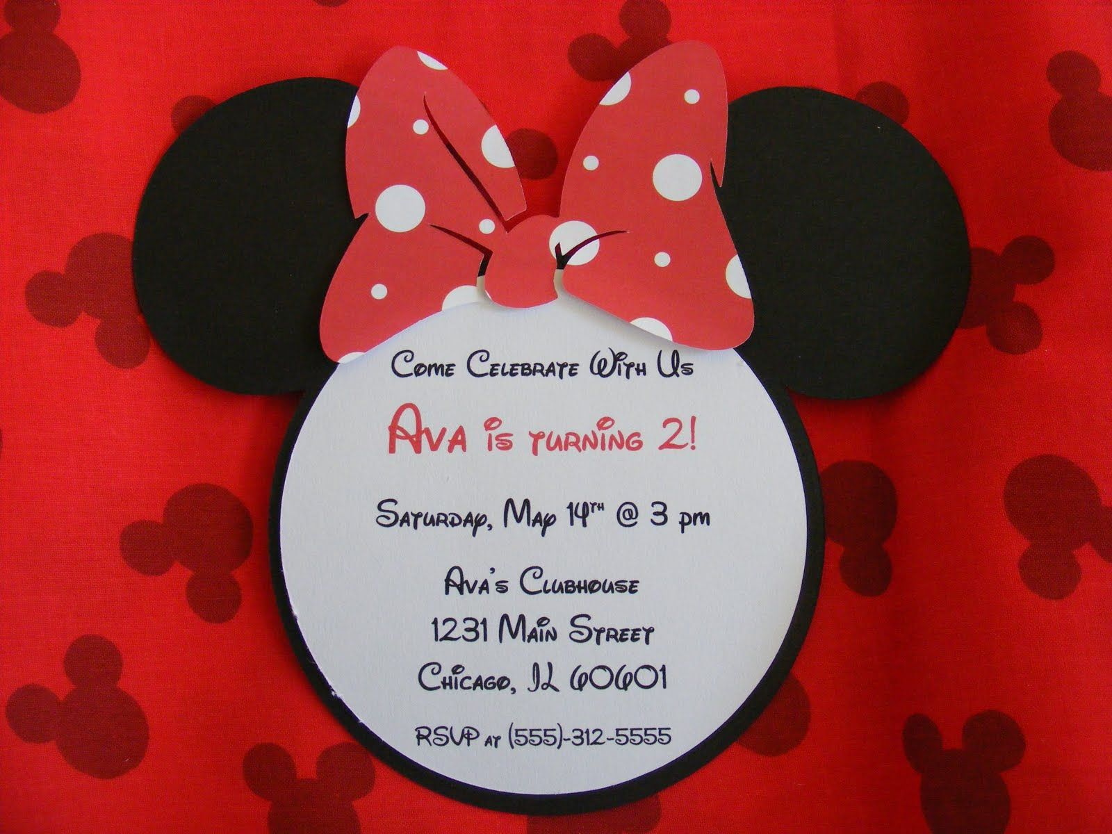 Whimsical Creations By Ann Happy Birthday Minnie Mouse Invitations - Free disney baby shower invitation templates