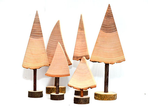 Set of wood Christmas trees, Natural wooden trees, Christmas Holiday decor, Tabletop decorations Christmas tree, Wooden Christmas gift