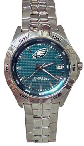 Fossil Men's NFL1048 NFL Philadelphia Eagles Round Dial Watch Fossil. $102.00. Water resistant to 50 meters. 3-hand quartz analog movement and rotating top ring. Made of stainless steel. Comes with date display. This genuine Fossil watch contains the Eagles logo