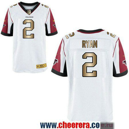 Men s Atlanta Falcons  2 Matt Ryan White With Gold Stitched NFL Nike Elite  Jersey d300215ca
