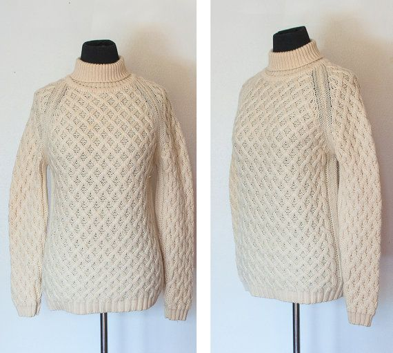 1950s -1960s Cream Cable Knit Turtleneck