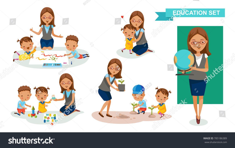 Kindergarten Teacher Women Of Education Set Drawing Jousting And