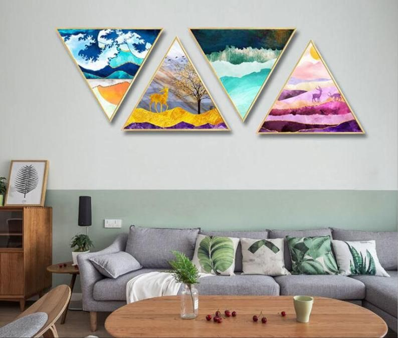Abstract Elk Triangle Canvas Wall Art Photo Printed Home Wall Etsy Canvas Wall Art Living Room Canvas Wall Art Wall Canvas