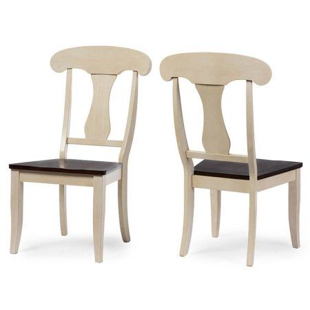 Baxton Studio Napoleon Chic Country Cottage Antique Oak Wood Dining Chair, Set of 2, Multicolor