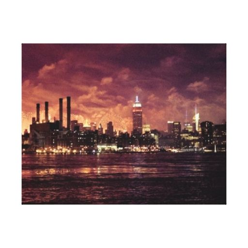 Fourth of July Fireworks behind Manhattan Stretched Canvas Prints