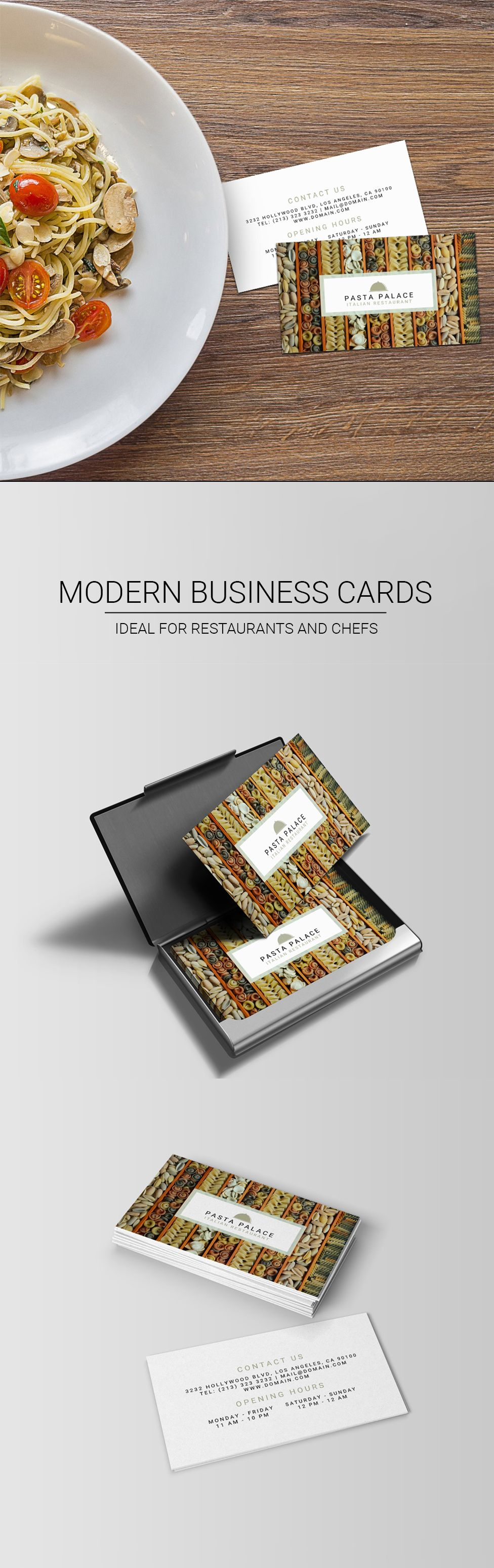 Modern business card for restaurants and personal chefs Would