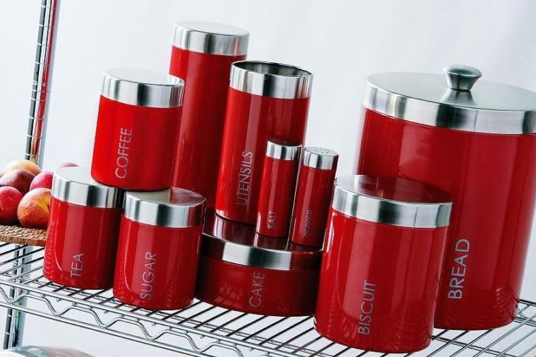 Sculpture Of Kitchen Canister Sets In Red Color