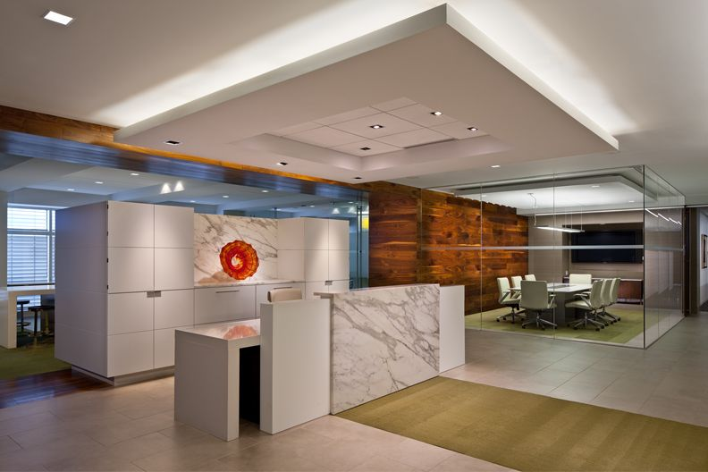 Calacatta Marble Reception Desk with reclaimed wood feature wall. KPMG  Office, Charlotte NC Designed - Calacatta Marble Reception Desk With Reclaimed Wood Feature Wall