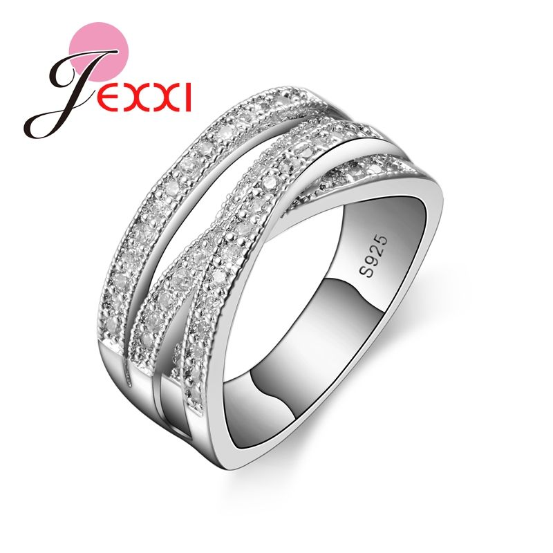 jexxi 2017 brand fashion 925 sterling silver jewelry cubic zircon crystal engagement wedding rings for women - Wedding Rings For Women Cheap