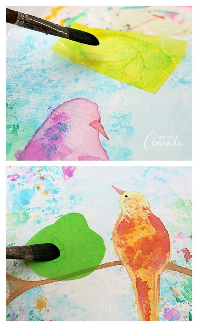 Bleeding Tissue Paper Birds On Canvas That S Right No Paint Was