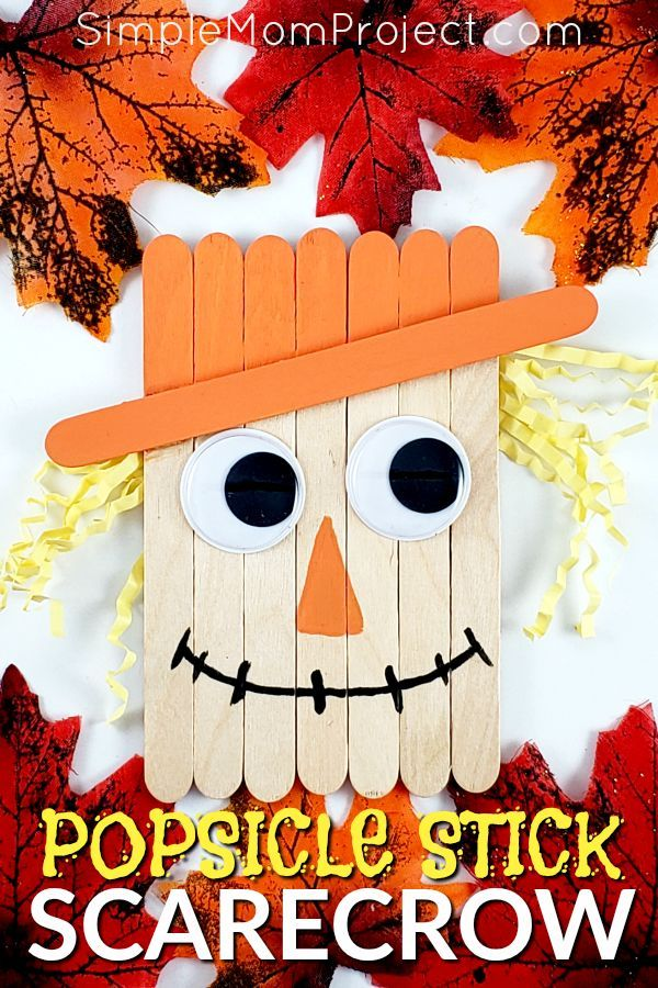 Looking for a fun, DiY Fall or Halloween party decoration for kids to make? Click now for a cheap, popsicle stick Scarecrow craft tutorial. Do them with your preschoolers in the classroom or at home with your toddlers. This Halloween and Fall Scarecrow is