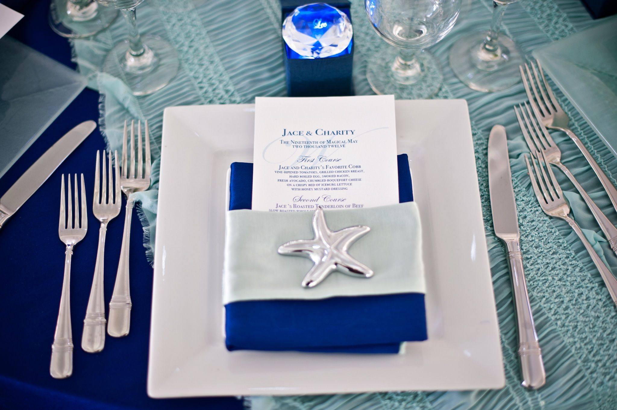 Illuminated Place Setting with Starfish Bottle Opener | Wedding ...