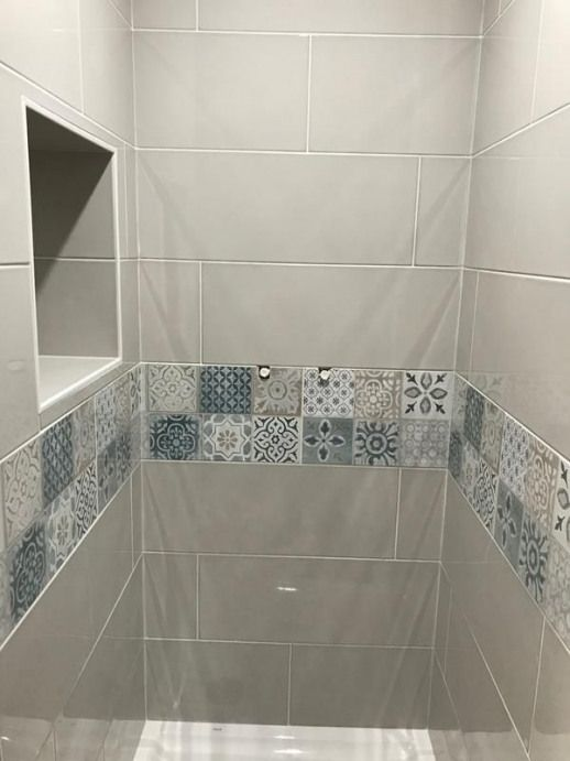 Faience Mur Greige Et Indigo Decor Haussmann L 25 X L 76 Cm Leroy Merlin Shower Smal En 2020 Cuartos De Banos Pequenos Decoracion De Banos Modernos Diseno De Banos