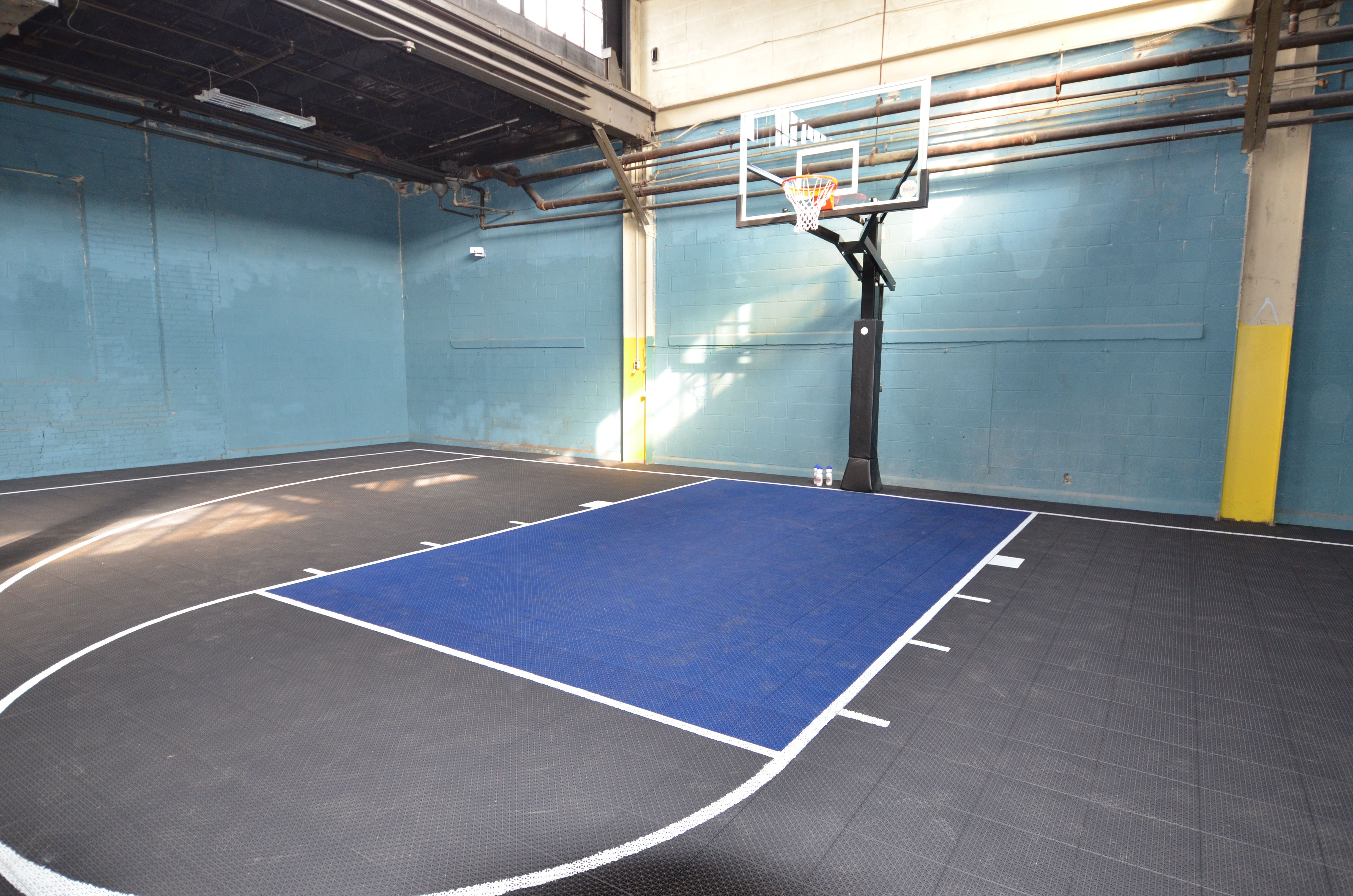 Indoor Basketball Court Completed Inside Of A Warehouse In