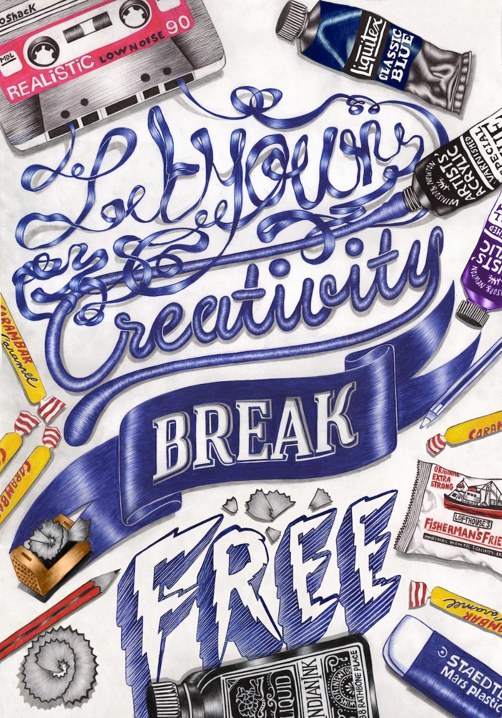 In Girls We Trust The Superb Bic Pen Illustrations By Helena Hauss Creative Typography Pen Illustration Typography