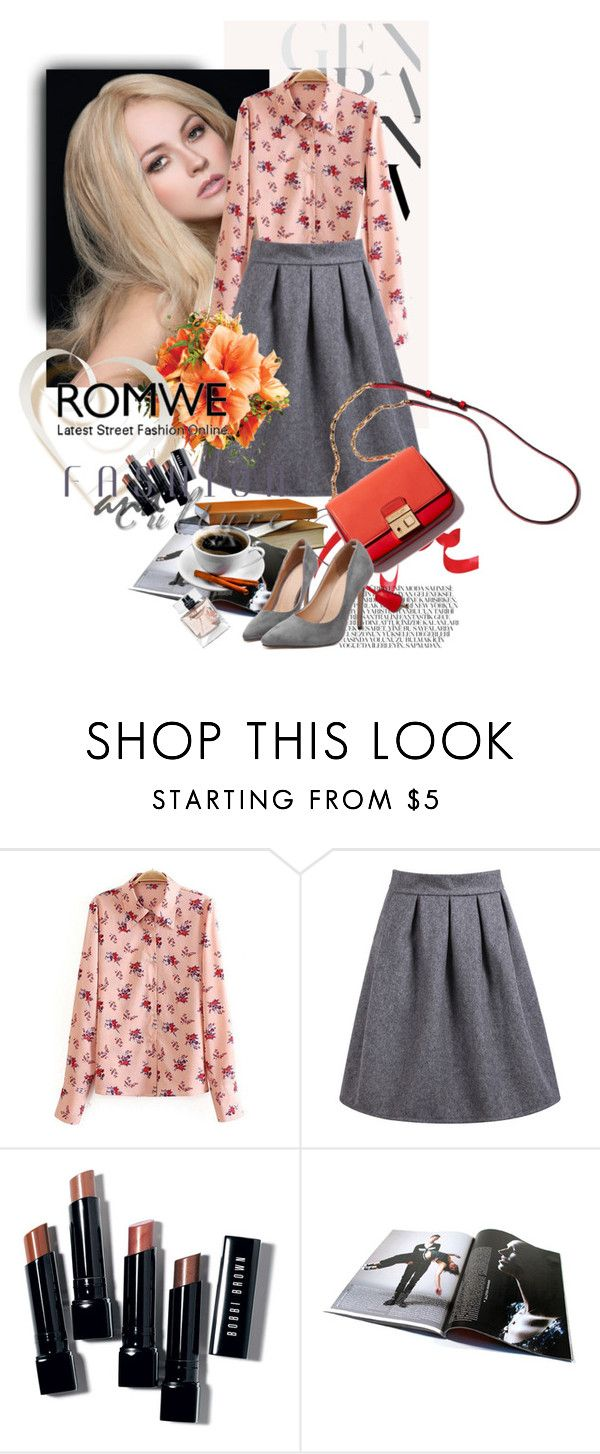 """High Waist Wine Grey Skirt"" by k-anisim ❤ liked on Polyvore featuring Bobbi Brown Cosmetics and Givenchy"