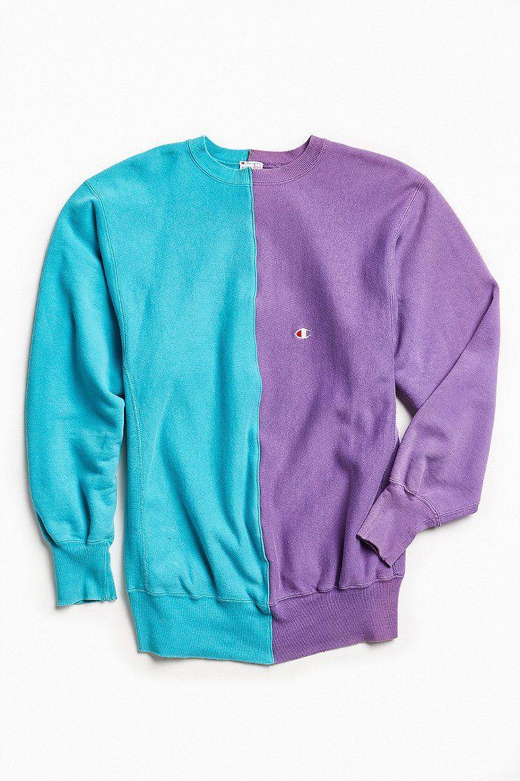 Vintage Champion Turquoise Purple Split Seam Crew Neck Sweatshirt Vintage Clothing Men Sweatshirts Crew Neck Sweatshirt [ 1095 x 730 Pixel ]