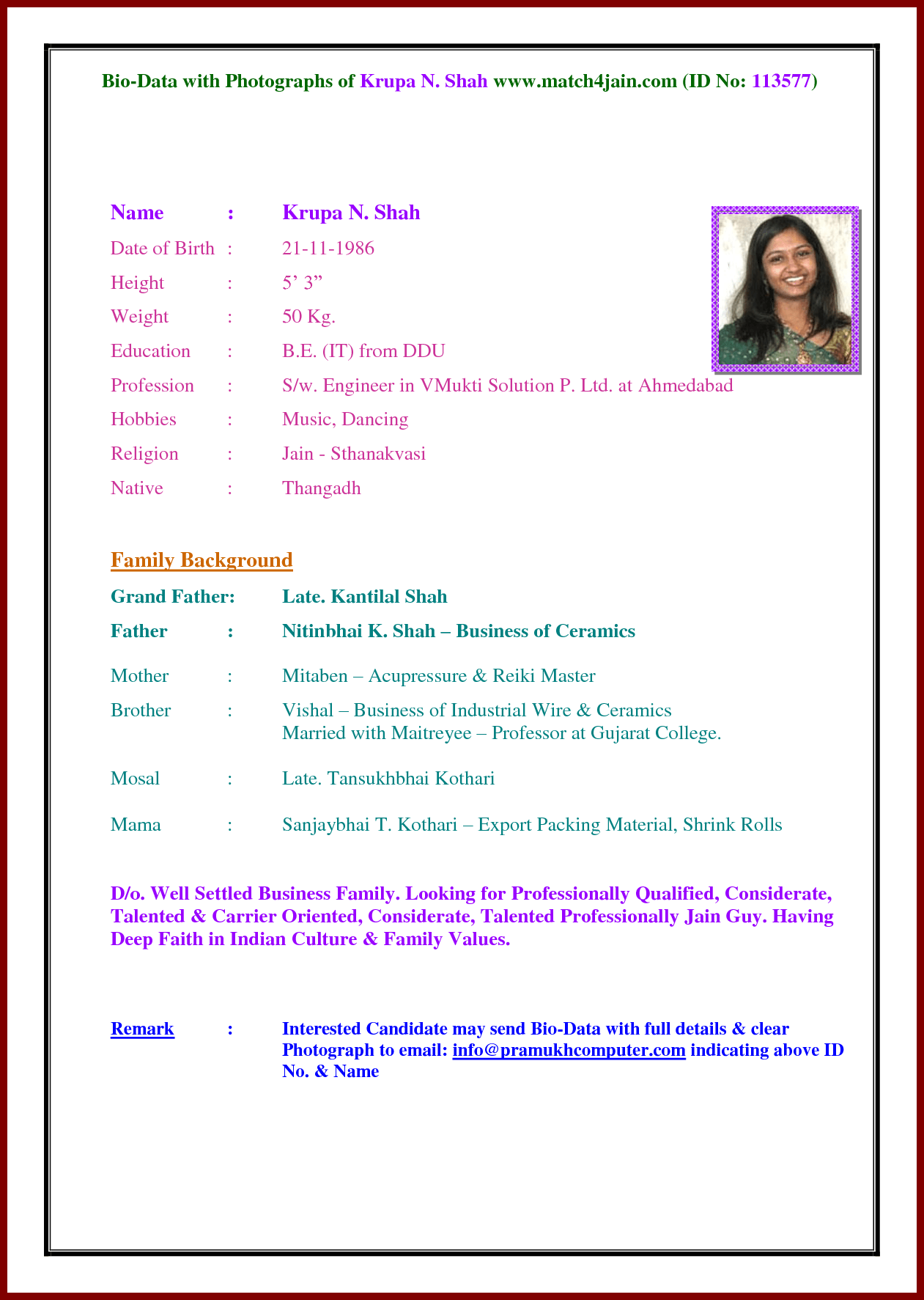 image result for indian marriage biodata word format free