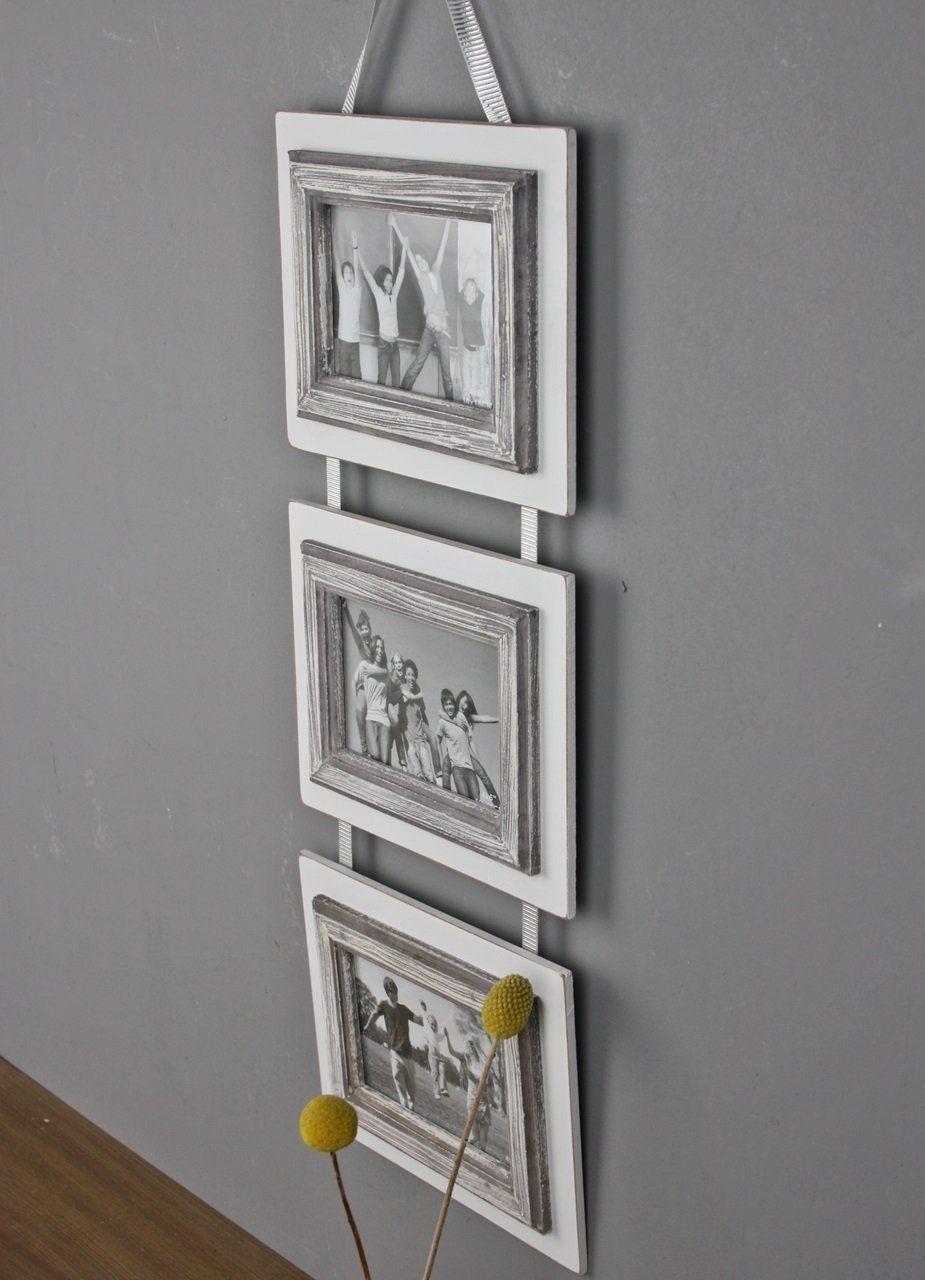 3er BILDERRAHMEN weiß antik shabby Rahmen Wandrahmen Fotorahmen ...