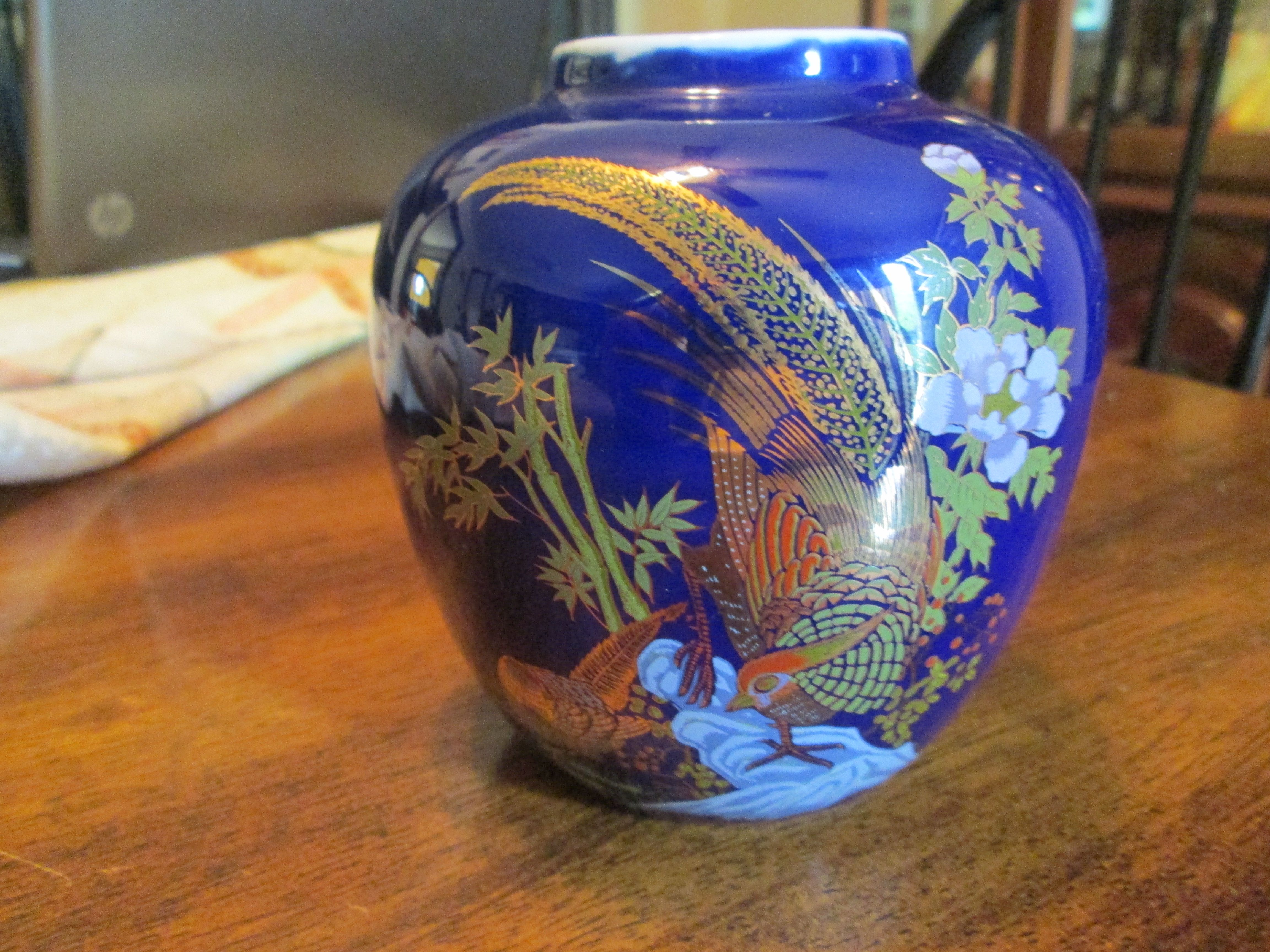 Vintage asian chinese taiwan 4 12 vase 4 14 wide cobalt blue vintage asian chinese taiwan 4 12 vase 4 14 wide cobalt blue 22k peacock and multicolored flowers fancy gold red green blue white reviewsmspy