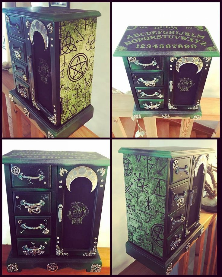 "Gothic Jewelry Box : gothic, jewelry, Curiology, Instagram:, ""I'll, Three, Witch, Jewellery, Boxes, Ready, April, Witchy, Decor,, Jewelry, Makeover"