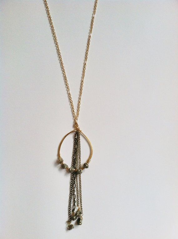 Pyrite and Brass Featherduster Necklace by MichellesMarket on Etsy, $25.00