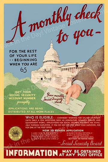Social Security Vintage Reproduction Poster A Monthly Check For