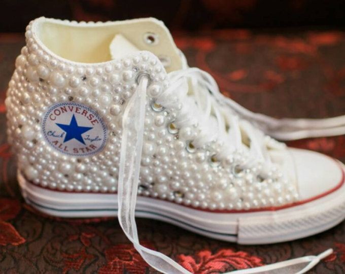 Wedge Wedding Converse Bridal Sneakers Bling Pearls Custom