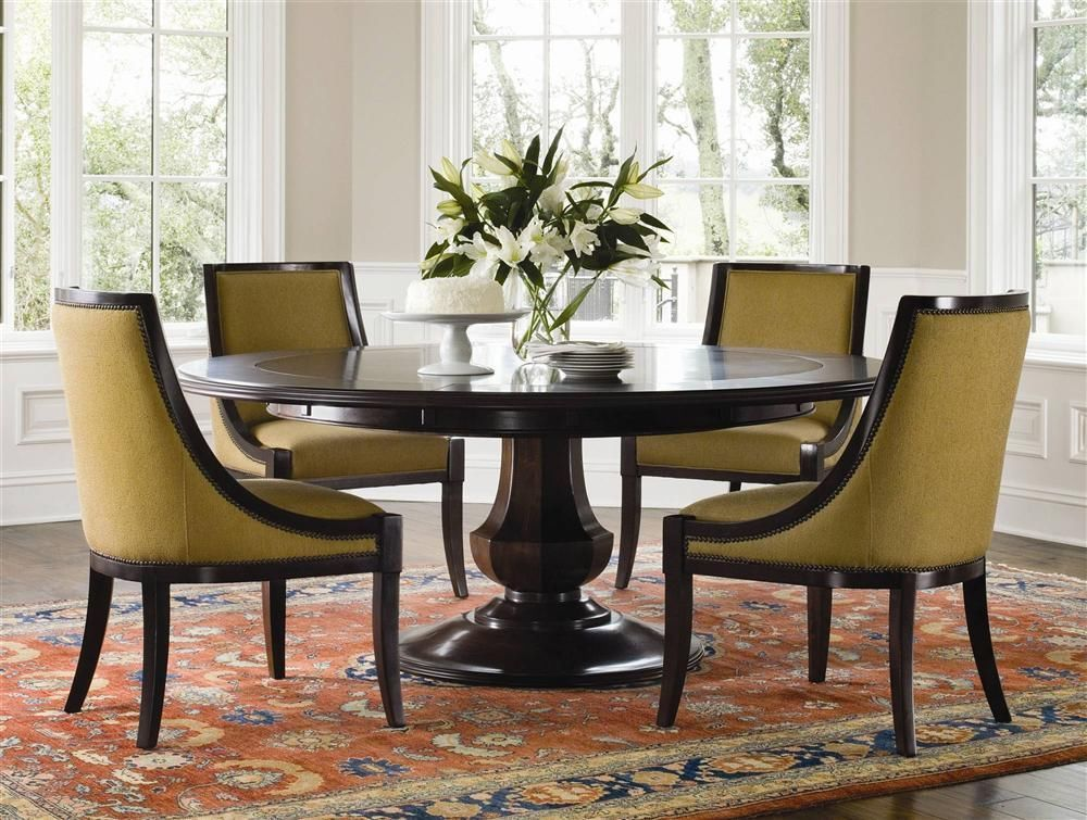 fe229a3aef1f6 Pedestal Style Dining Table with Mahogany Top and Extension Leaves - ID  22931