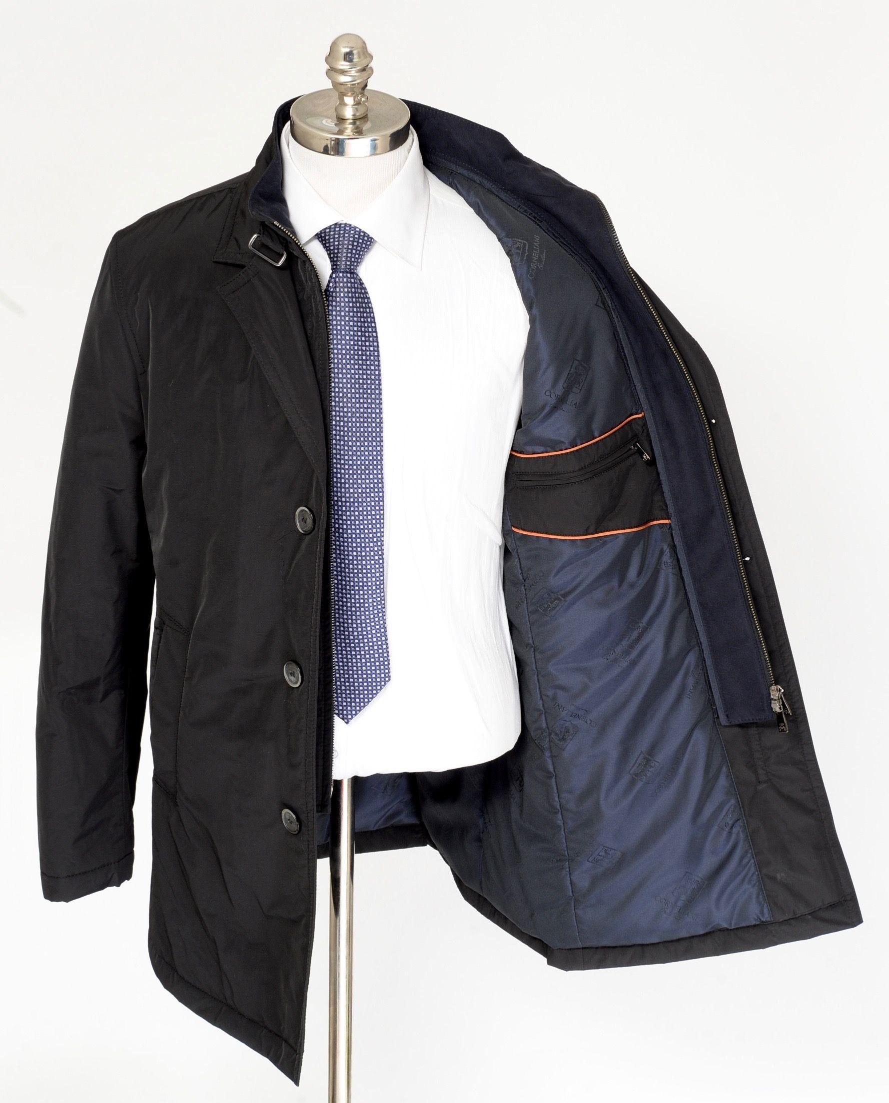 Corneliani Id Black Cotton Water Proof 3btn Field Coat Zip Jacket Mens Designer Fashion Coat Coat Fashion [ 2207 x 1779 Pixel ]