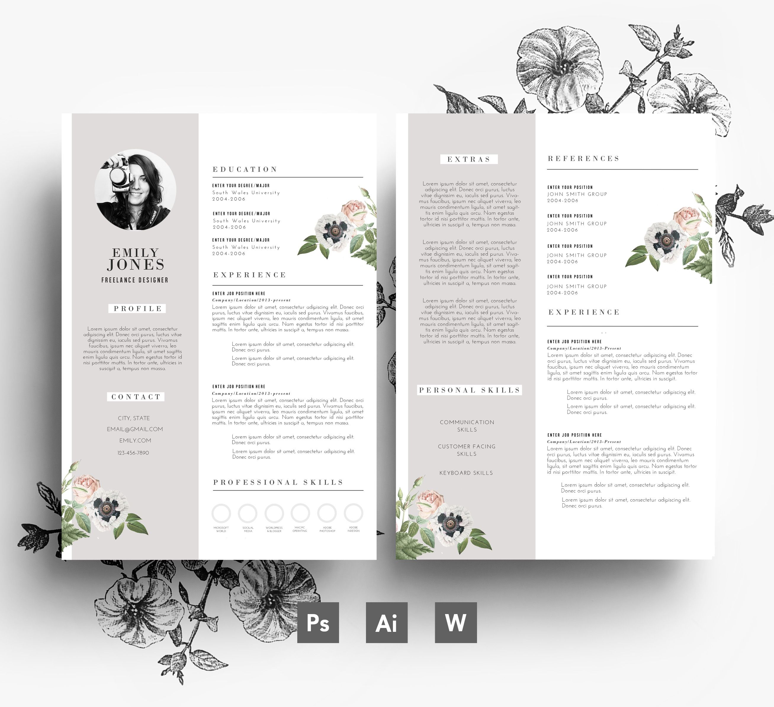 creative template resume and cover letter flower resumes