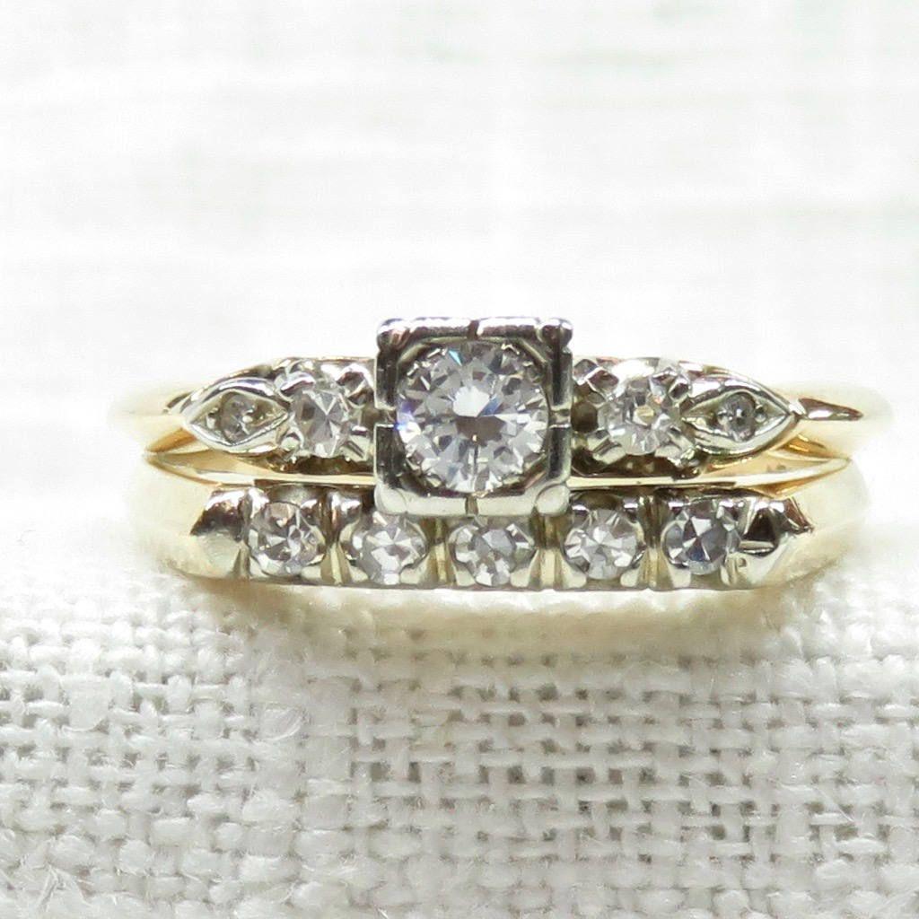Vintage k gold diamond engagement ring and wedding band set