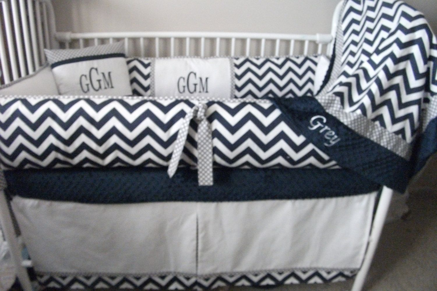 Navy Blue Gray And White Chevron Baby Bedding Crib By Abusymother 50 00