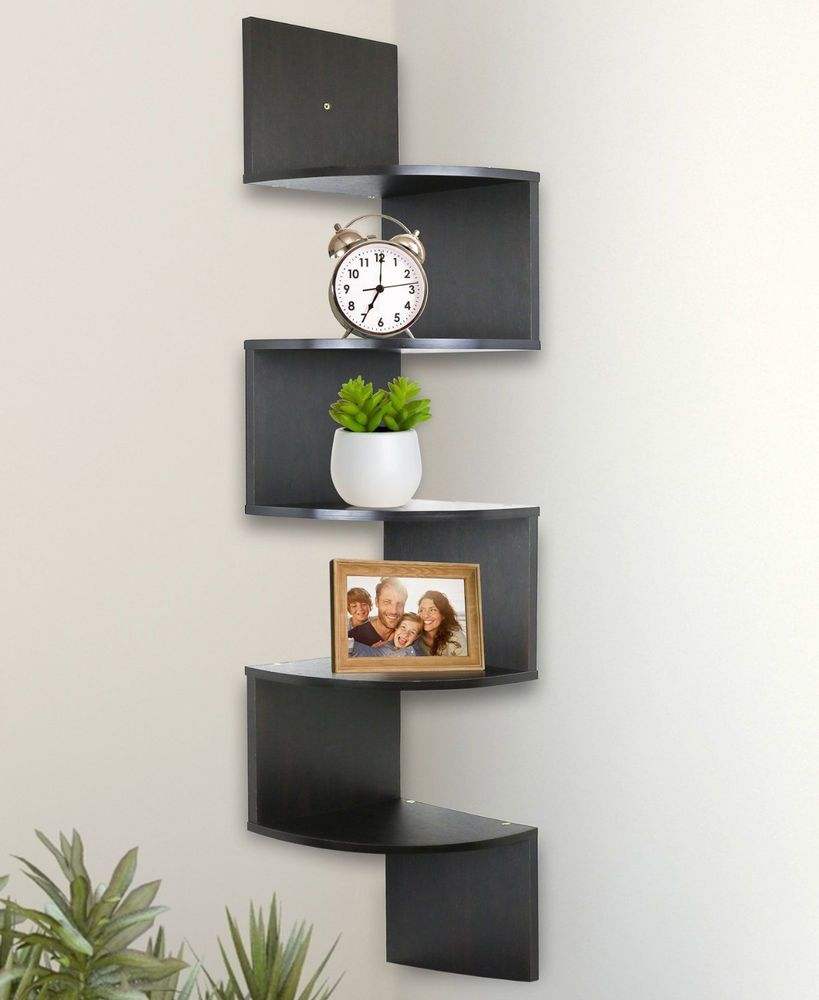Corner Wall Shelves Zig Zag Shelf Home Decor Living Room Wood Display Storage Wall Mounted Corner Shelves Corner Wall Shelves Wall Shelves Design
