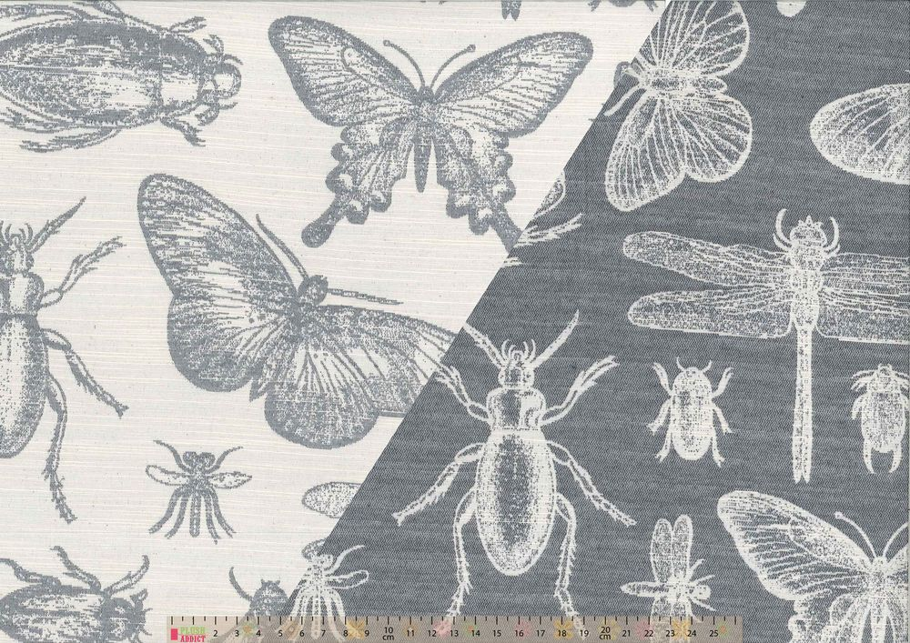 Upholstery / Curtain Fabric - Bugs On Grey - Reversible - Per Metre