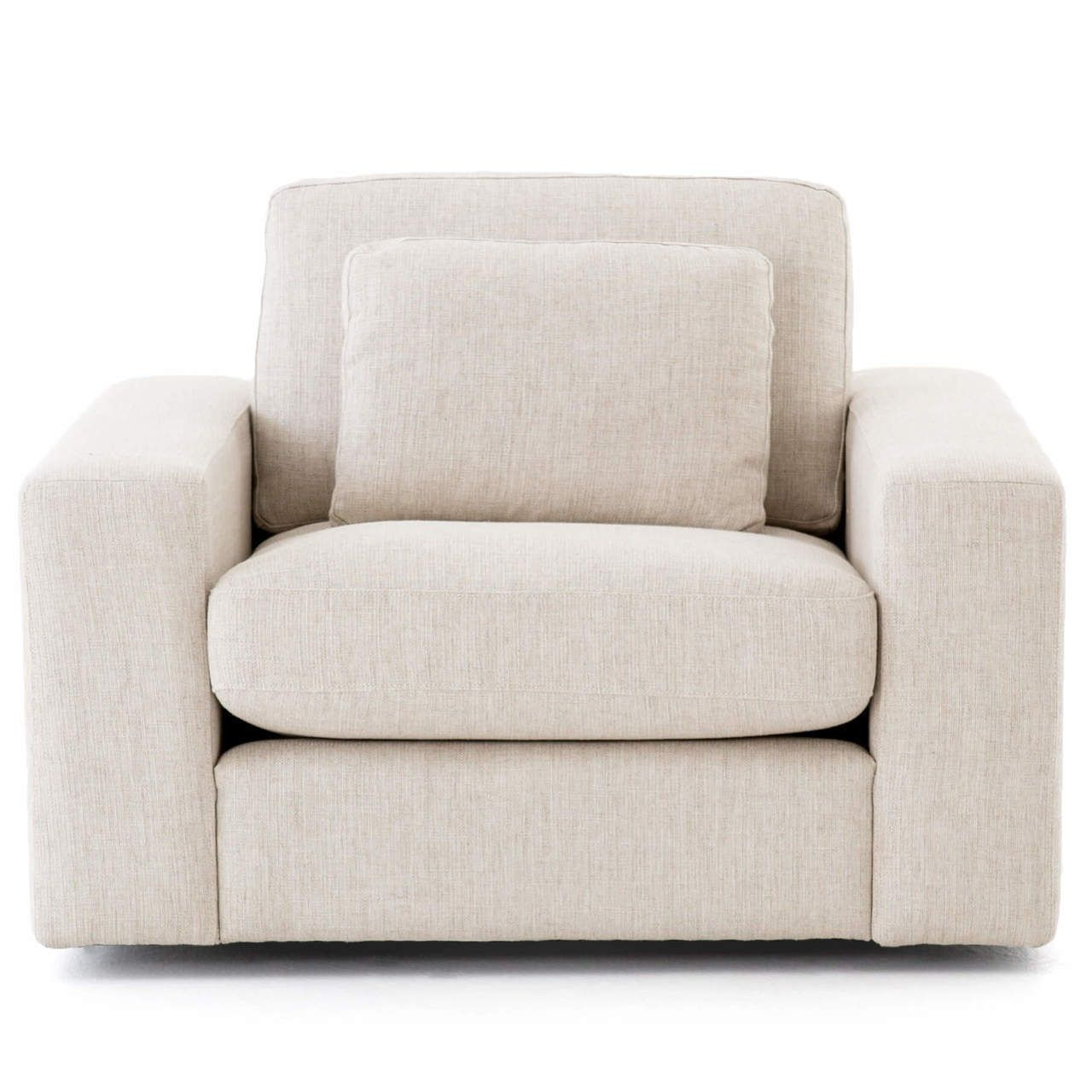 Bloor contemporary natural linen upholstered swivel chair