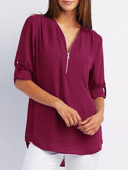 ccc432e9b86 Black Zip Design V-neck Long Sleeves Blouses - US 17.95 -YOINS-mobile