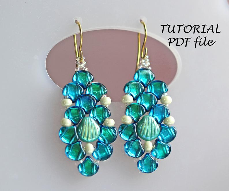 Beaded Earrings Pattern Beading Tutorial Earrings With Ginko